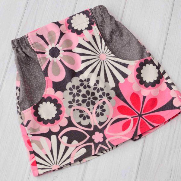 Gray & Pink Flower Corduroy Skirt