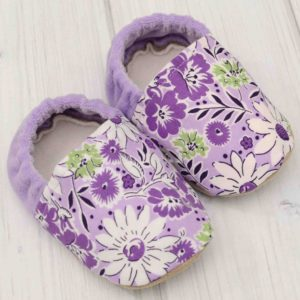 Purple Flowers Baby Shoes