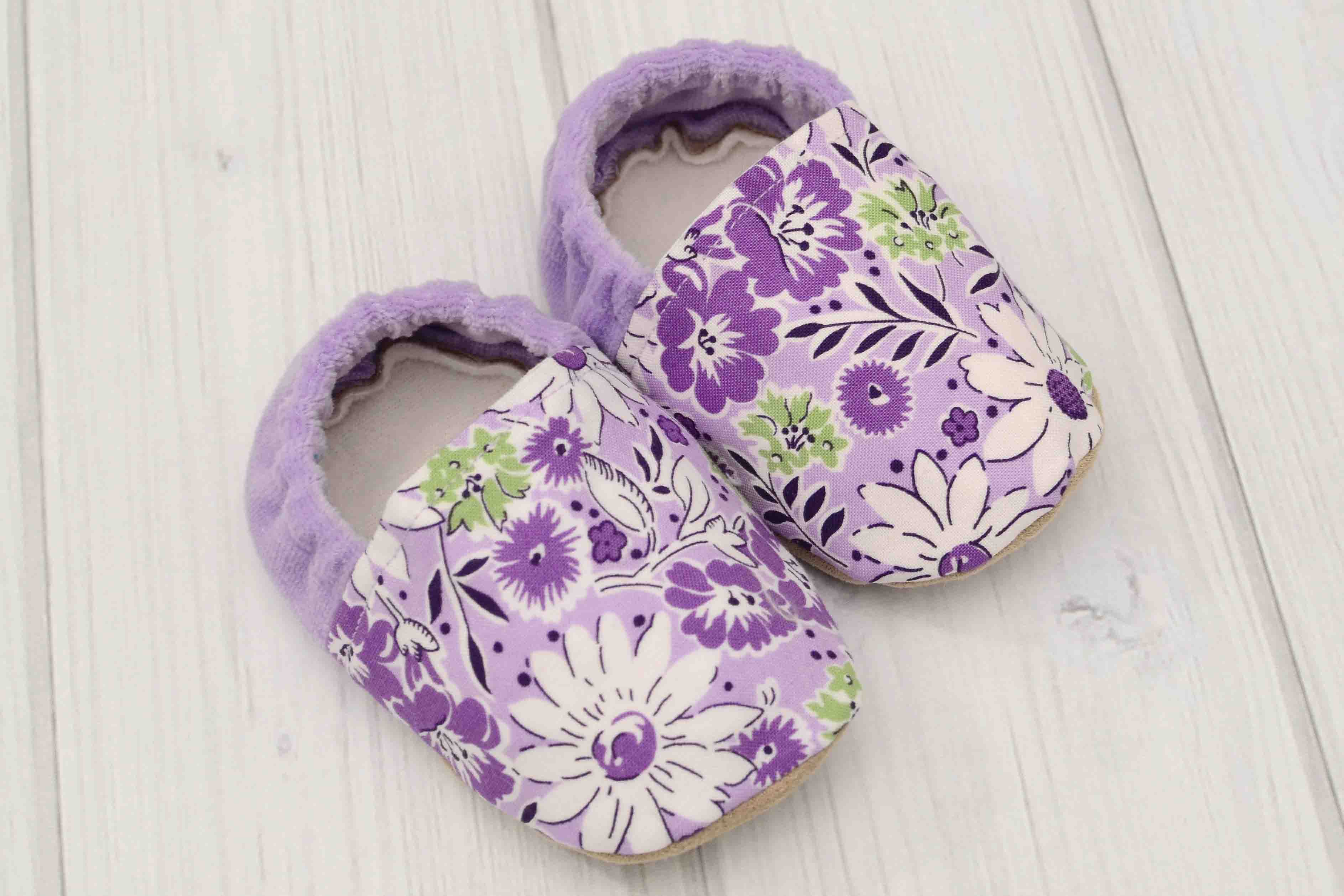 Purple Flowers Baby Shoes Labor of Love Baby Boutique