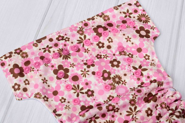 Pink Flower Cloth Diaper Cover