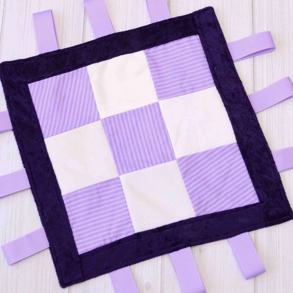 Purple Stripe Sensory Blanket Toy