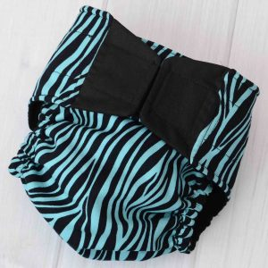 Teal Zebra Diaper