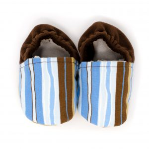 Blue and Brown Stripe Baby Shoes