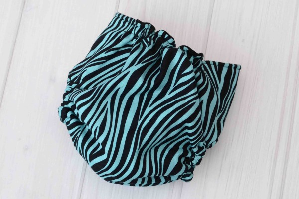 Teal Zebra Cloth Diaper Cover