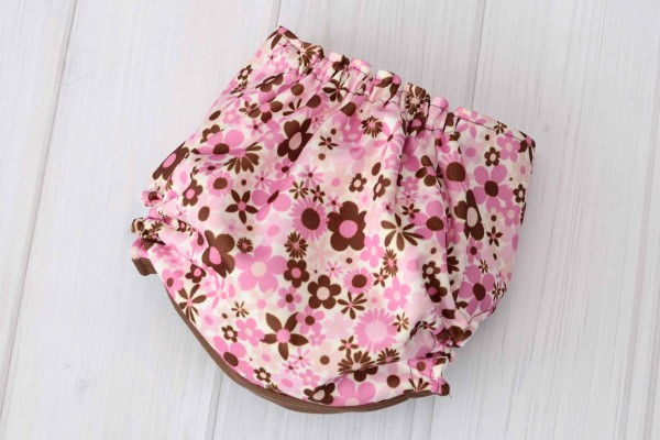 Pink & Brown Flowers Cloth Diaper Cover
