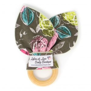 Gray Flowers Teething Ring