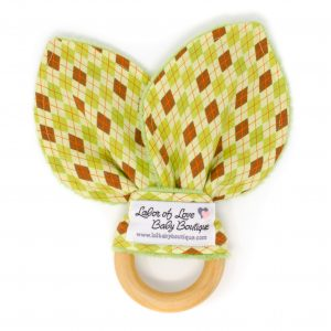 Green Argyle Teething Ring