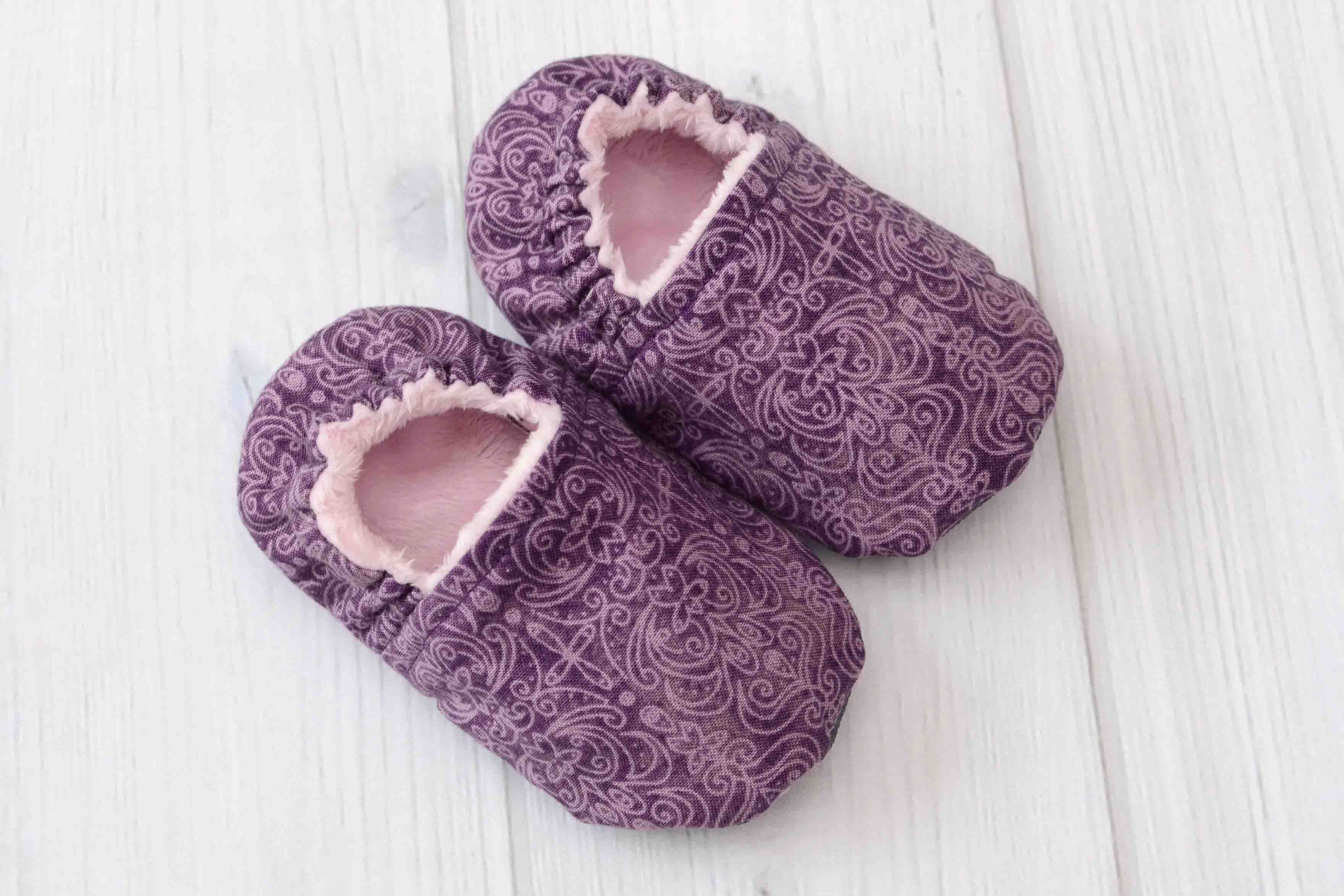 Plum Scroll Baby ShoesSize Medium 6 12 mos Labor of Love Baby