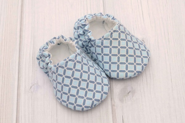 Blue Squares Baby Shoes