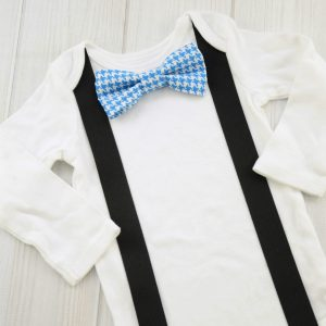 Blue Houndstooth Bow Tie Shirt