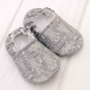 Gray Robot Baby Shoes