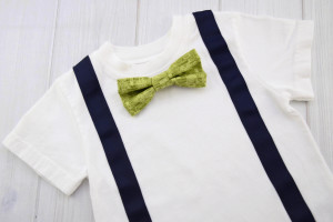 Green Robots Bow Tie Shirt