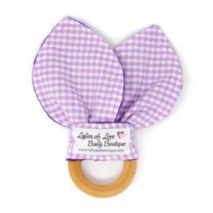 Purple Gingham Teething Ring