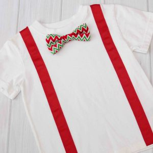Red & Green Chevron Bow Tie