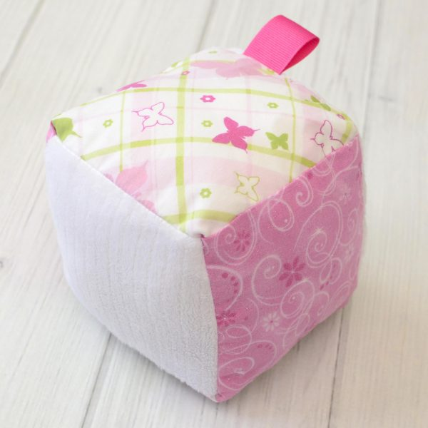 Plaid Butterfly Rattle Block