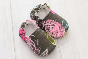 Gray Flowers Baby Shoes