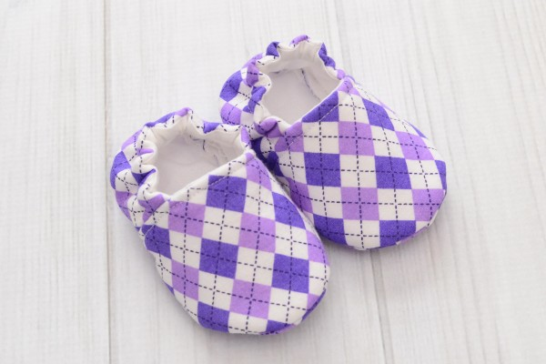 Purple Argyle Baby Shoes