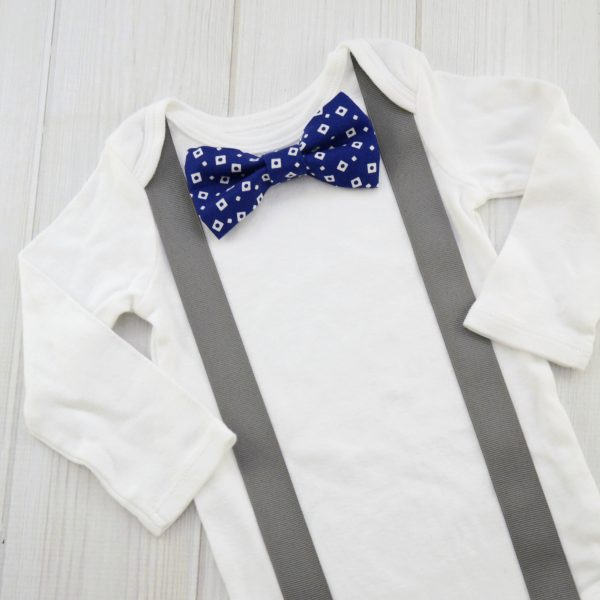 Blue with White Squares Bow Tie Shirt