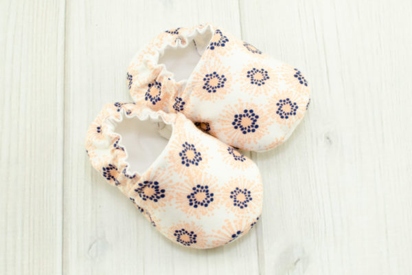 Peach & Navy Flower Shoes