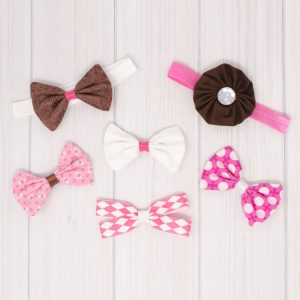 Pink & Brown Hair Bow Set