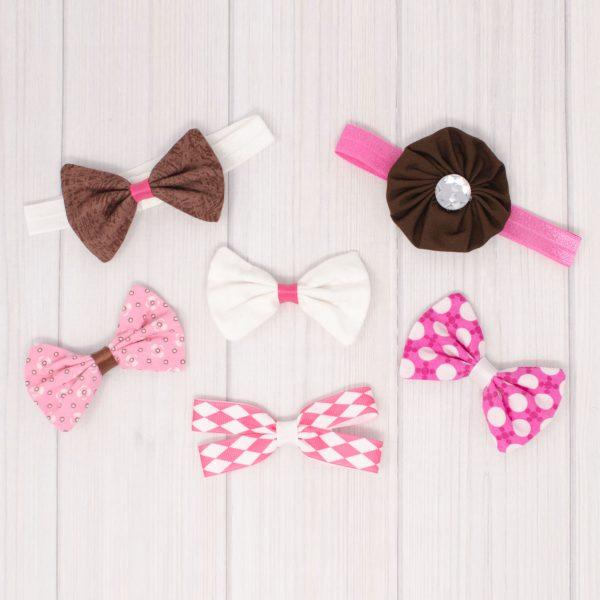 Pink & Brown Hair Bow Set