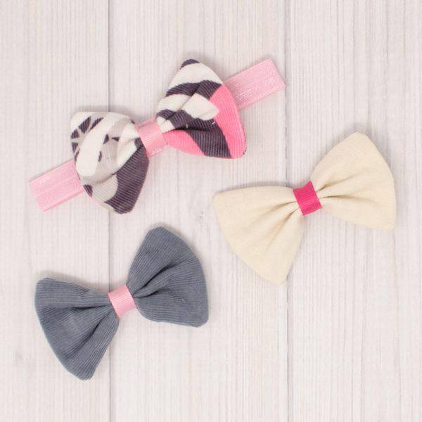 Corduroy & Linen Bow Set