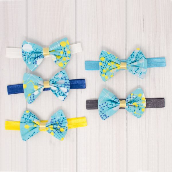 Blue & Yellow Hair Bow Headbands