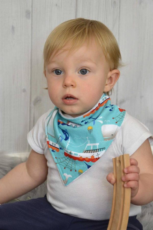 Aqua Fishing Boats Bandana Bib