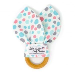 Teal & Pink Dots Teething Ring