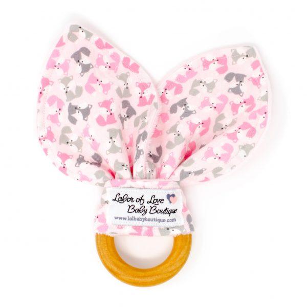 Pink Fox Teething Ring