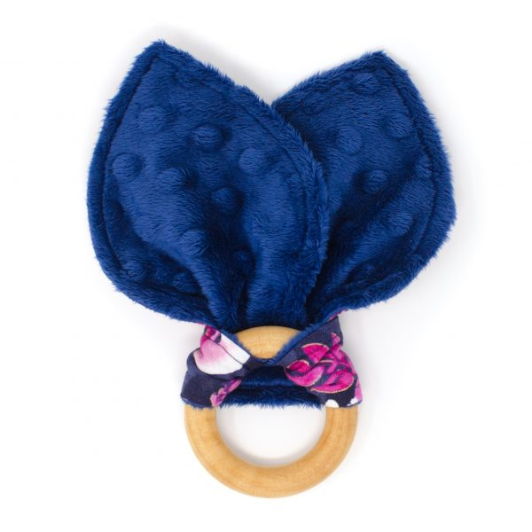 Navy & Pink Orchids Teething Ring