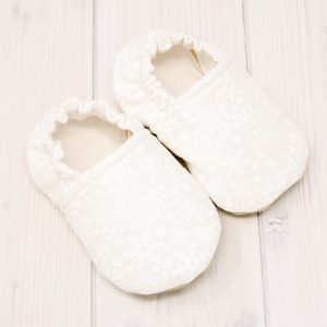 White Snowflake Baby Shoes