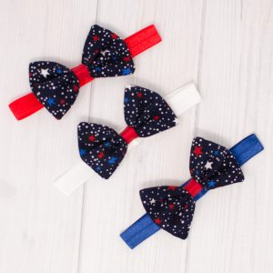 Red White Blue Hair Bow Set